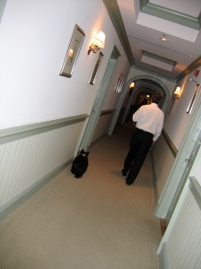 Walking the halls of Keswick with the peep.
