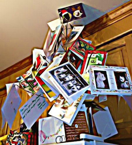 My card tree. I've got waaaay more than the peeps. Too bad.