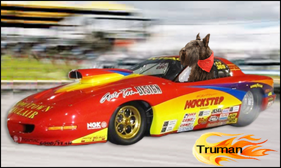 Truman Huckstep in his firey Pontiac Firebird in lane 2.