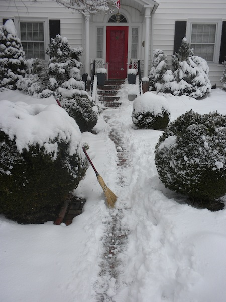 Get a move on peep! Clear the path for me! Where's the snow shovel? You'll never get anywhere with that broom.